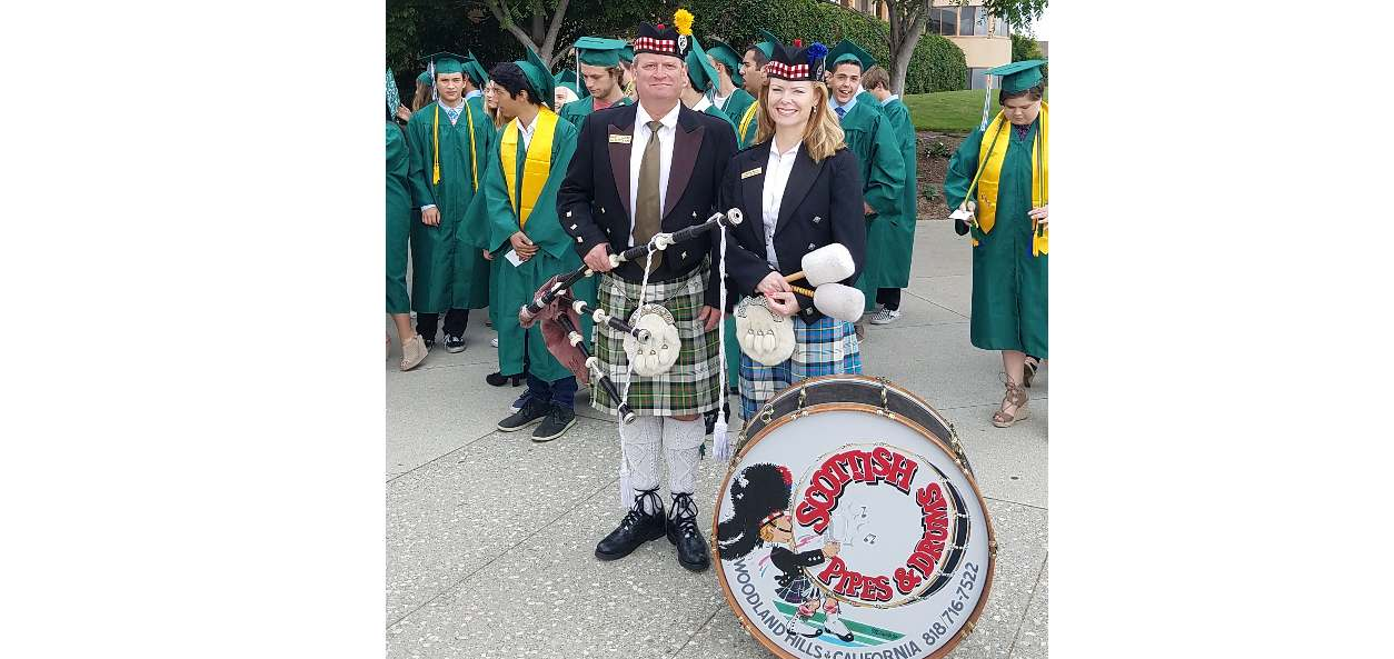 Loyola Marymount Bagpipe Player And Drummer